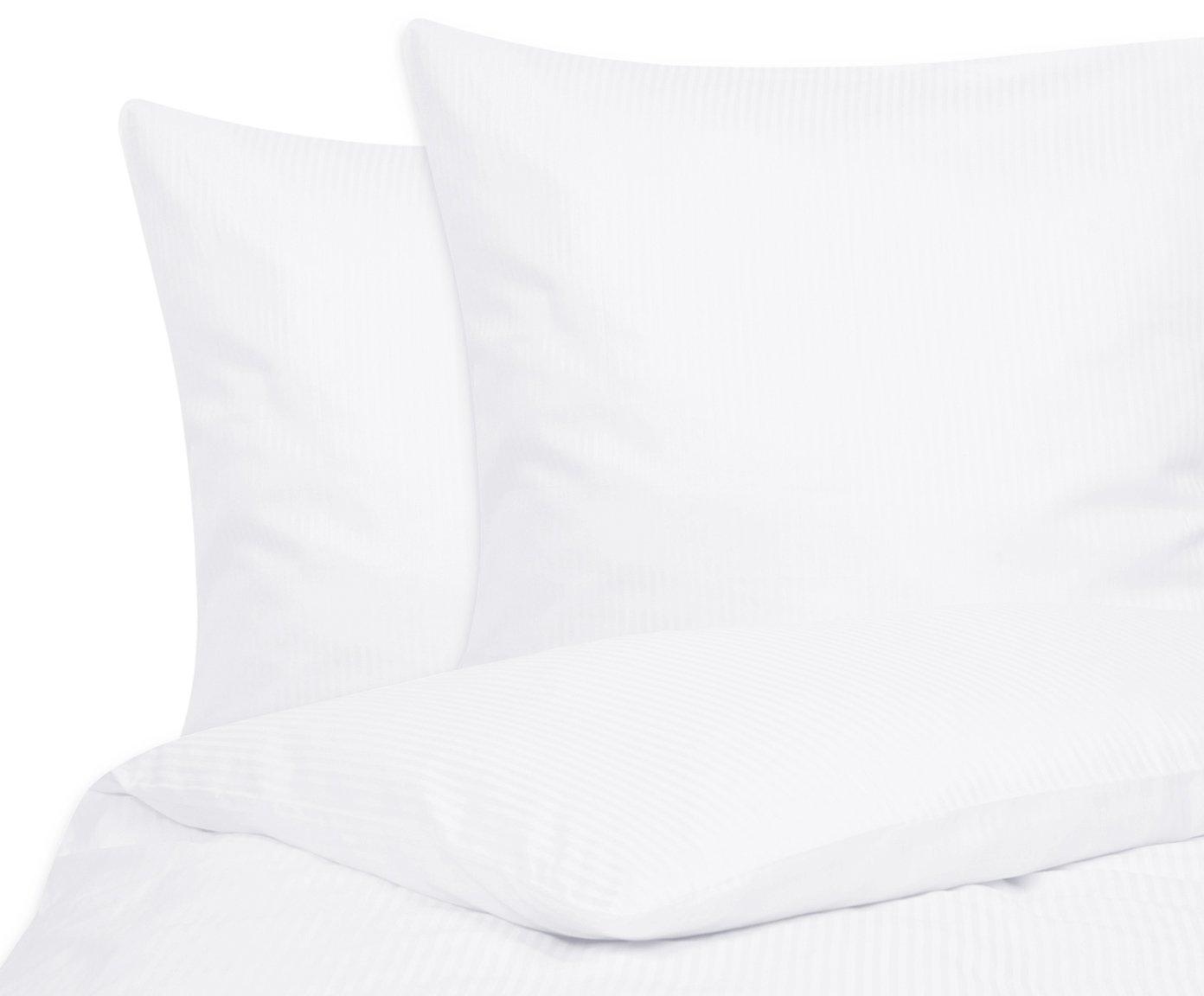 Port Maine Jacquardstreifen Bettwäsche-Set Charlotte, 100% Baumwollsatin mit Leicht glänzender Oberfläche, Bettbezug 240 x 220 cm, 2 Kissenbezüge 80 x 80 cm, 3-teilig, Weiß