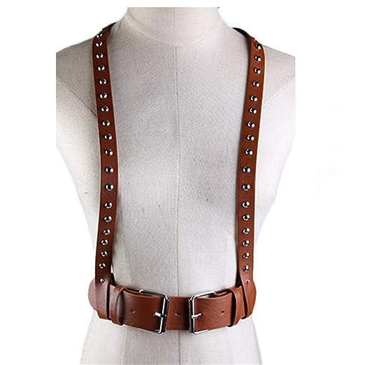 Cinturón de arnés de cuerpo de mujer Unisex Faux Leather Punk ...