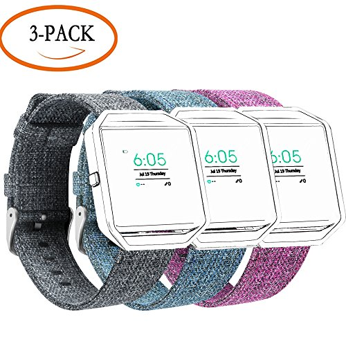 Compatible Fitbit Blaze and Fitbit Versa Bands, Adjustable Replacement Soft Nylon Accessories Wrist Band Compatible Fitbit Blaze/Versa Smart Watch Band Large(3 Pack) NOT Contain Metal Frame