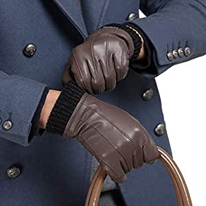 Xxadliy Autumn and Winter Men's Leather Gloves, Lining: Suede-Lined Locomotive Driving Gloves (Color : Brown, Size : XL)