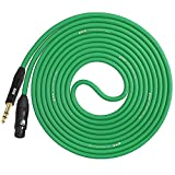 LyxPro 25 Ft - 1/4 TRS to XLR Female Star Quad Microphone Cable for High End Quality and Sound Clarity, Extreme Low Noise – Green