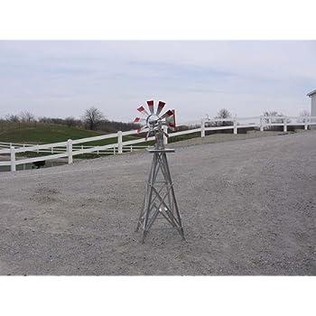 4 Ft Premium Aluminum Decorative Garden Windmill, Red Trim