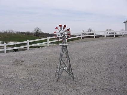 Merveilleux 4 Ft Premium Aluminum Decorative Garden Windmill  Green Trim