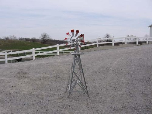 4 Ft Premium Aluminum Decorative Garden Windmill- Green Trim