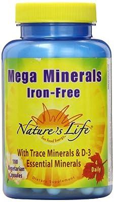 Nature's Life Veg Capsules, Mega Minerals, Iron Free, 100 Count