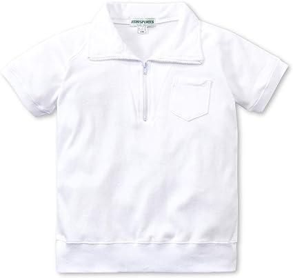 えり付き半袖体操服(白)/ハーフジップ体操着/子供/キッズ/男女兼用(12200)