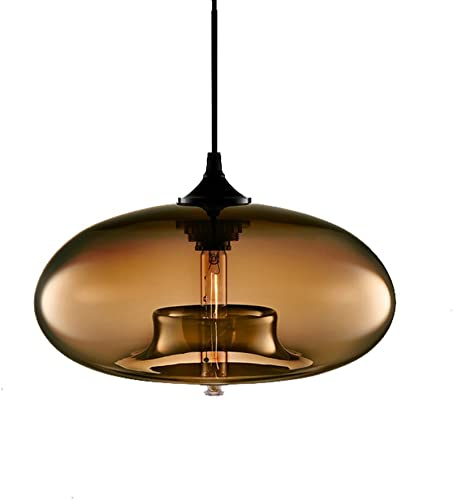 I-xun – Industrial Shape of Onion Vintage Chandelier E27 Pendant Light Ceiling Lamp Colorful Glass Cage Brown
