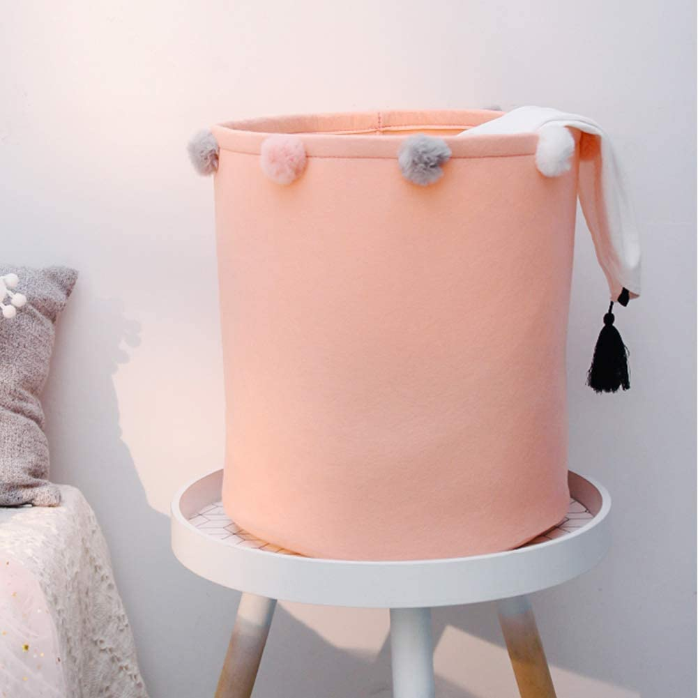Home Decor Pink Swan Baby Laundry Inwagui Collapsible Nursery Storage Basket Soft Grey Felt Storage Bins Portable Organizer for Kids Toys