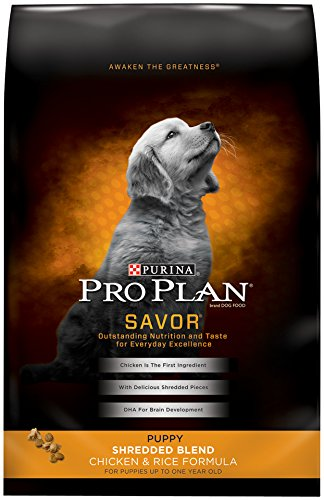 Purina Pro Plan SAVOR Puppy Shredded Blend Chicken & Rice Formula Dry Dog Food - (1) 34 lb. Bag - Plan Puppy Food