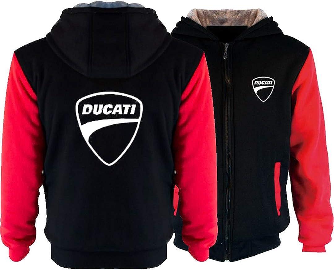 10,XL Winter Herren Langarm Zip Kapuzenjacke Ducati Digital Print Jacke Casual Plus Velvet Thick Warm Fashion Sportswear