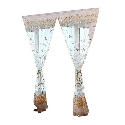 56553b3eb6 pushfocourag 1PC farfalla fiore voile divisorio porta mantovana finestra  tenda 100 x 200 cm Green: Amazon.it: Casa e cucina