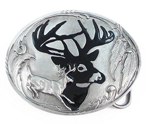 Pewter Belt Buckle - Deer Silhouette - Pewter Belt Buckle (Pewter Buckle Mens Belt)