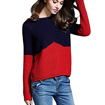 Locomo Women Girl Crew Neck Knit Two Tone Pullover Sweater Top FFK097YELL - Red - US 0-2