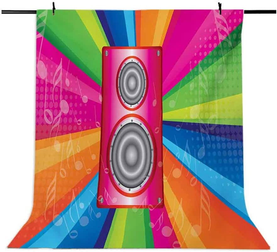 Vintage Rainbow 6x8 FT Photography Backdrop Discotheque Pop Party of The 60s 70s Theme Musical Notes and Pink Stereo Background for Baby Shower Bridal Wedding Studio Photography Pictures Multicolor