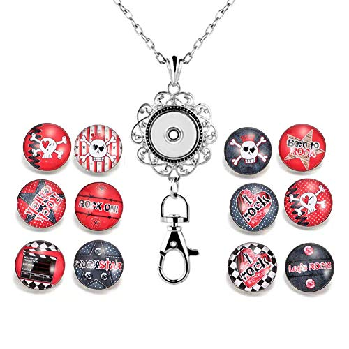 DH Love Halloween Sugar Skull Snap Button Charms ID Card Badge Holder Office Lanyards with Snap Charms Keychain (C)