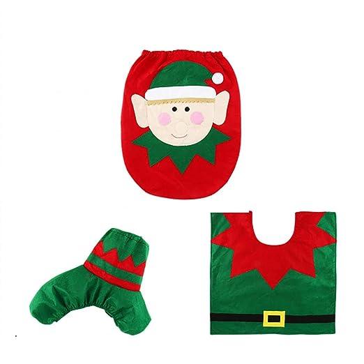 1 as Shown No Tejido Unicoco 3pcs Alfombra de ba/ño y Contour WC Alfombra ba/ño Navidad