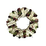 """Northlight Unlit Natural Twig and Birch Wood Pine Cone Artificial Christmas Wreath, 13"""""""