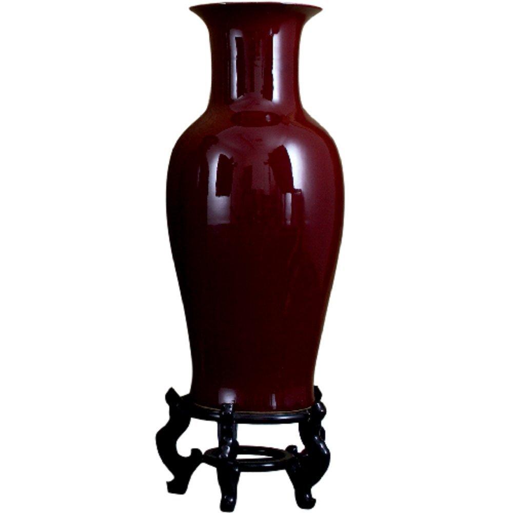 Home decor. Oxblood Red Porcelain Vase. Dimension: 13.5 x 13.5 x 32.25. Pattern: Ox Blood.
