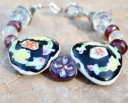 Avant Garde Floral Handmade Red glass Lampwork Beads Heart Ceramic Chinese Cloisonné Bracelet Silver Beaded -