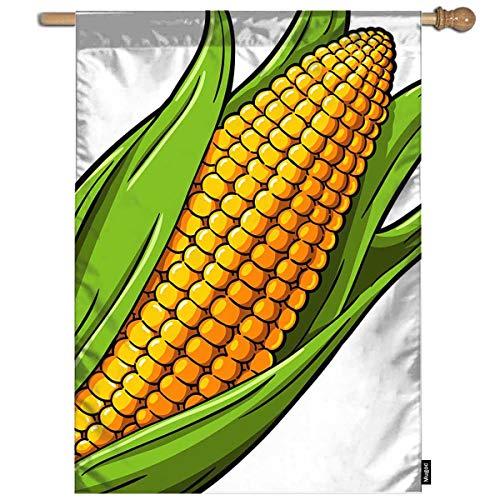 Mugod Corn Garden Flag Cartoon Golden Sweet Corn on The White Background Decorative Spring Summer Outdoor House Flag for Garden Yard Lawn 28 x 40 - Sweet Golden Flag