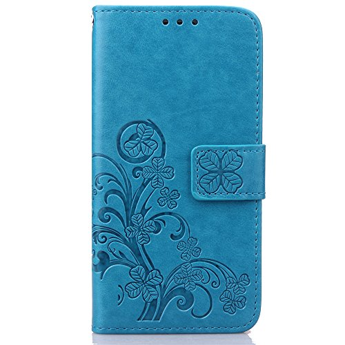 Cuitan PU Leather Case for Samsung Galaxy S7 Edge, Four Leaf Clover Stand Wallet Case with Card Slots & Lanyard, Magnetic Closure Flip Protective Case Cover Shell Skin for Samsung S7 Edge - Blue