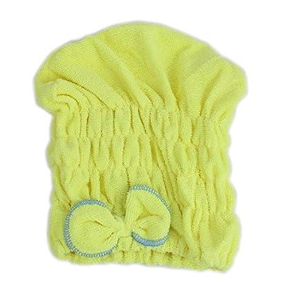 Señora Gimnasio Piscina Ducha Goma para el pelo seco Cap turbante toalla amarilla