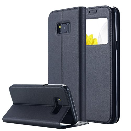 Galaxy S8 Plus Case, LONTECT [Big Window] PU Leather Magnetic Closure Flip View Case Folio Stand Cover with Card Slot for Samsung Galaxy S8 Plus
