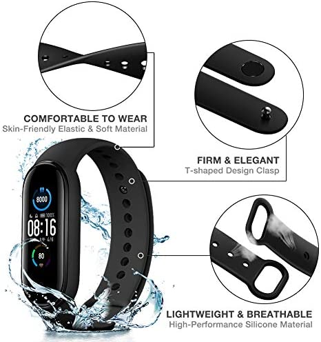Watch Bands for Xiaomi Mi Band 5 2020,Classic Style Silicone Wristband Bracelet Watch Strap for Xiaomi Smart Band 5 (8 Pack) 2