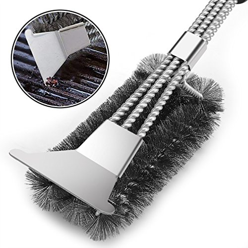 VestaWare Grill Brush with Scraper,BBQ Grill Accessories- 3-In-1 Barbecue Grill Cleaning Brush with Triple Wire Bristles Head to Cleaning Each Corner Fast,Clean Safe (Corner Accessory)