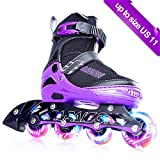 PAPAISON SPORTS Adjustable Inline Skates for Kids and Adults with Full Light Up LED Wheels, Outdoor Rollerblades for Girls and Boys, Men and Women