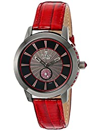 Titan Women's 'HTSE Self Energizing' Quartz Stainless Steel and Leather Automatic Watch, Color:Red (Model: 2523QL02)