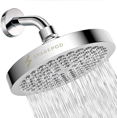 SparkPod Shower Head - High Pressure Rain - Luxury Modern Chrome Look - Easy Tool Free Installation - The Perfect Adjustable Replacement For Your Bathroom Shower Heads 1