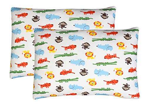 Toddler Pillowcase, 2 pack- Premium Organic Cotton, EXTREMELY SOFT & BREATHABLE, toddler pillowcase 13x18, SAFARI by Luxuriously Soft-NEW YORK