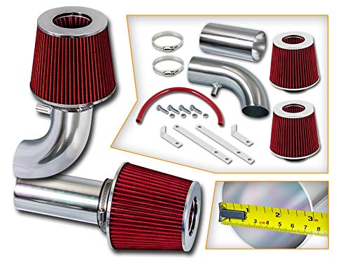 (Rtunes Racing Short Ram Air Intake Kit + Filter Combo RED For 88-95 Ford F-150 / Bronco 5.0L & 5.8L (without MAF Sensor))