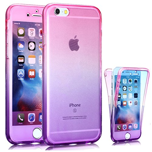 J.west iPhone 6S Case, Perfect Slim Fit Ultra Thin Light Dirt/Dust Proof Colorful Soft TPU Gel Case 360 All-Round Full Body Protective Back Cover Case for Apple iPhone 6/6S 4.7 inch,Pink/Purple