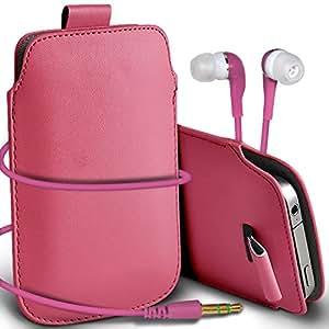 Online-Gadgets UK - Samsung Galaxy S3 Mini i8190 premium protección PU Tire de la cubierta del caso Tab bolsa deslizamiento del cordón en el bolsillo y Coincidencia 3.5MM Auriculares Auriculares Auriculares - Baby Pink