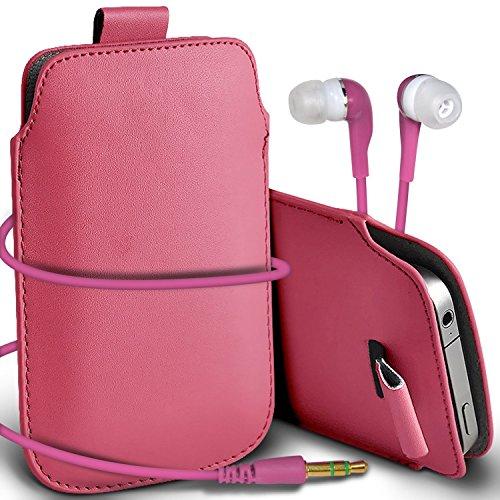 N4U Online - Apple Iphone 4S Prime de protection PU cuir Pull Tab cordon glisser la peau Pouch Pocket Housse & Matching casque 3,5 mm écouteurs écouteurs - Bébé Rose