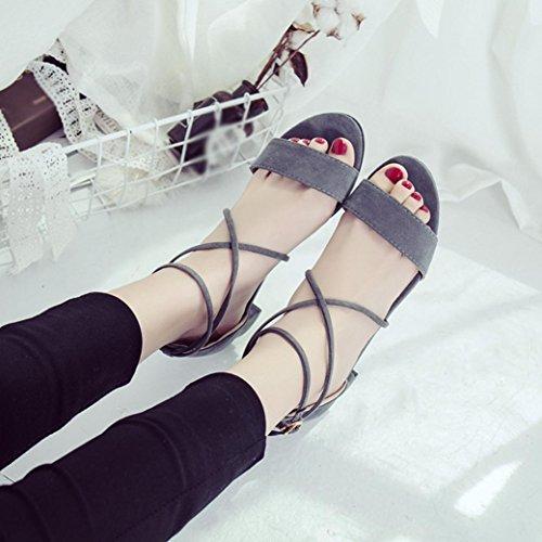 Moda Mujer Correas Bohemia De y Transpirable Planas Verano Chanclas de Cruzadas Bailarinas ASHOP Zapatos Zapatillas de Sandalias Las Sandalias Playa C Cuero Cordones fxvEqwO