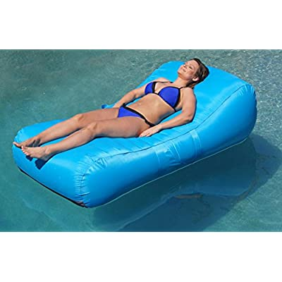 Aquadolce Pool Lounger - Deluxe Oversized Pool Float with Durable Turquoise Nylon, Luxury Living Inflatable Chaise Lounger: Toys & Games