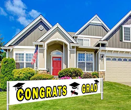 Large Congrats Grad Banner, Class of 2019 Graduation Banner, Graduation Party Supplies Decorations (9.8 x 1.5 -