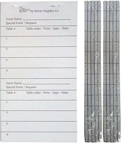10 Server Order Pads for Waitresses and Waiters (3.75 x 7 Great addition to The Server Book) - Waitress Guest Checks - Waiter Order Pads - Food Service Equipment - 50 pages/book - 10 Books+ (10) by Server Supplies