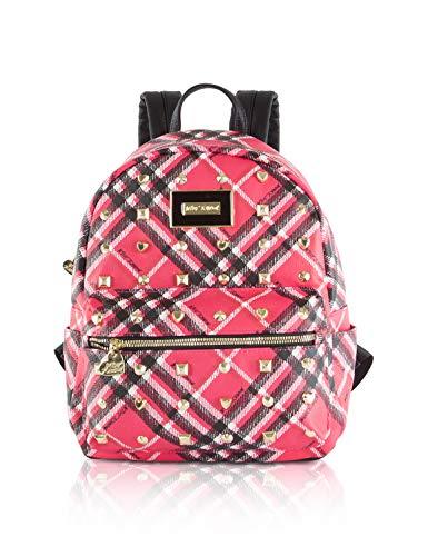 Betsey Johnson Plaid Stud Medium Backpack - Plaid Fushia
