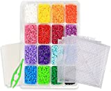 kedudes Multi Color Perler Beads Kit - Tray Of 16 Fun Color Perler Fuse Beads (4000 Beads) With Four Clear Square Pegboard Set Plus A Bead Tweezers And Two Fusion Ironing Paper