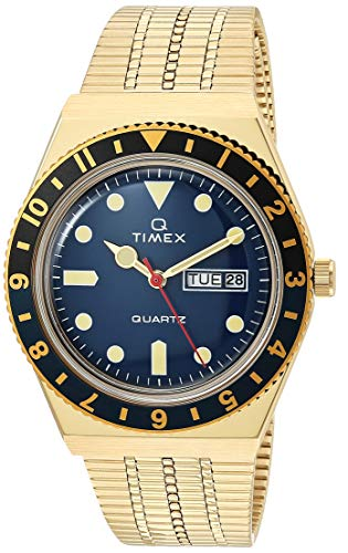 Timex 38 mm Q Timex Black/Blue 3-H Gold Case Blue Dial Gold Bracelet