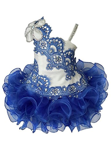 YOGHOURT Toddlers Baby Girls Applique Lace One Shoulder Tutu Cupcake Pageant Dresses 4 US Royal Blue