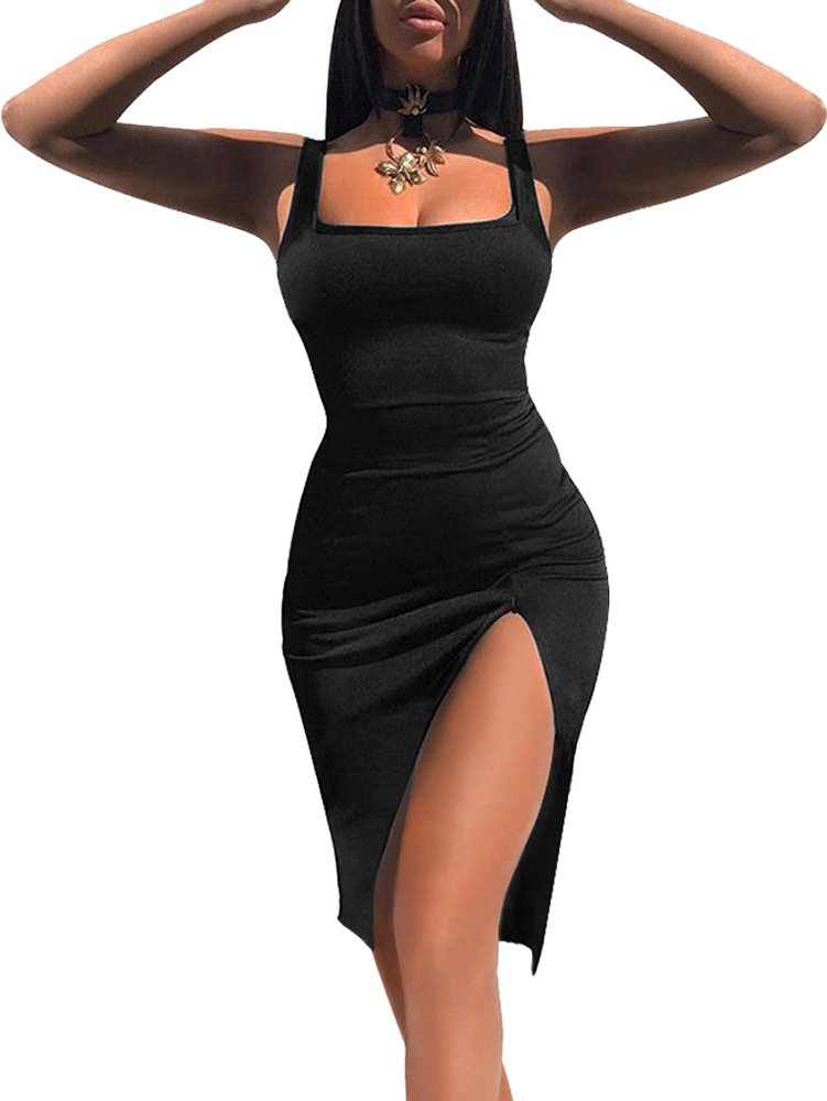 TOB Women's Sexy Bodycon Sleeveless Basic Tank Knee Length Club Dress Side Slit Black