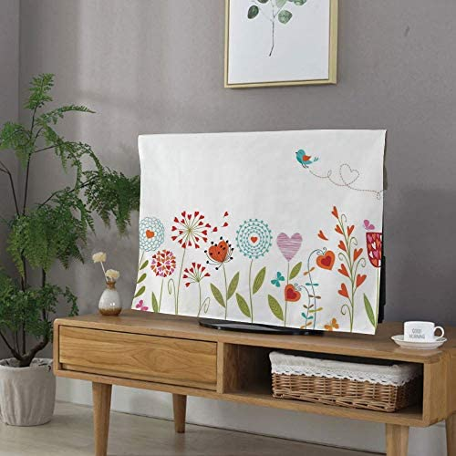 TVカバー tvケース レビカバー 防塵カバー 43Vのテレビに適用 液晶カバー アイマック テレビ 花の装飾 枝のバラとヒナギクとライラック植物の自然をテーマにしたアートプリント 多色