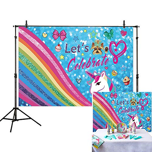 Allenjoy 7x5ft Glitter Rainbow Backdrop for Sweet 16 Happy 18 Theme Colorful Bokeh Puppy Sparkle Unicorn Photography Background Music Birthday Party Banner Girl Baby Shower Decoration Photo Booth ()