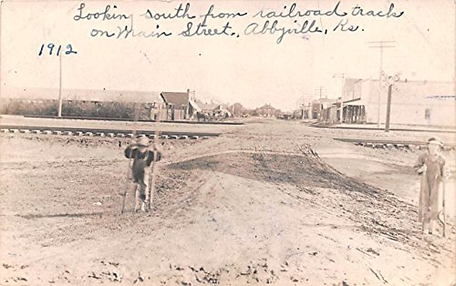 Looking South from Railroad Tracks Abbyville, Kansas postcard