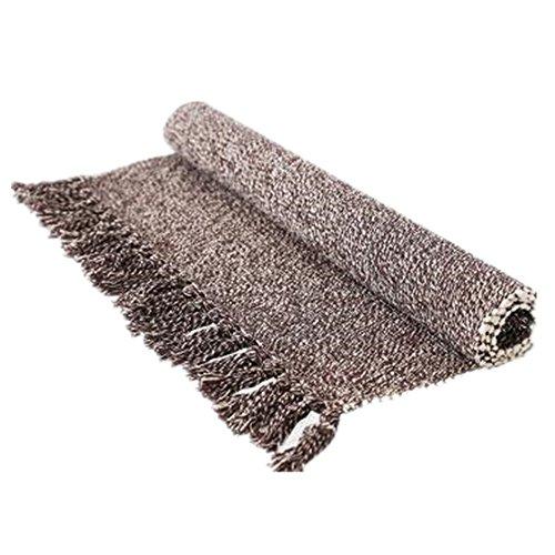 USTIDE Hand Woven Rug Cotton Rag Rug Laundry Room Floor Runner, Washable,Environmental Coffee&White 23.6